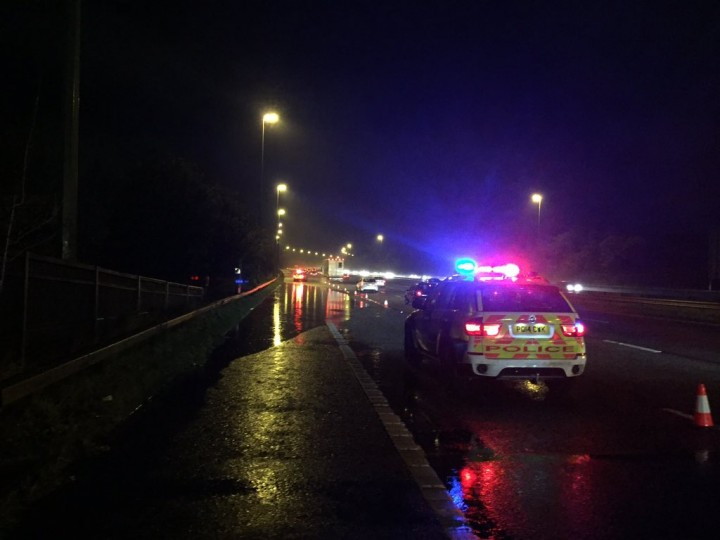 A police car closing a lane on the M6 Pic: LancsRoadPolice