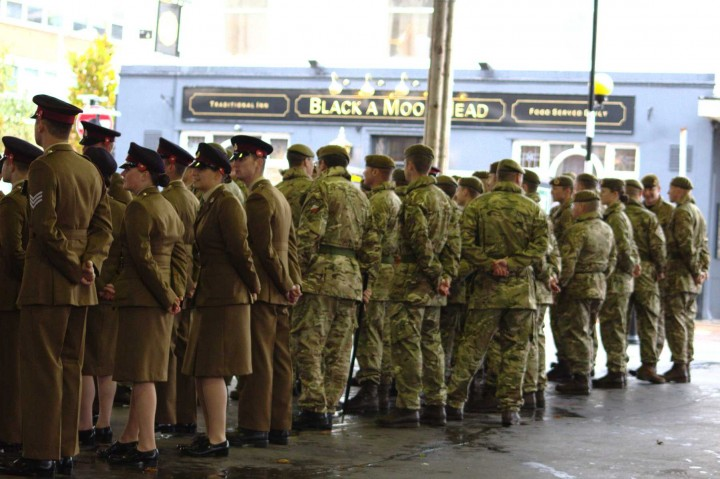 Troops gather under the Covered Market Pic: Henna Sheth