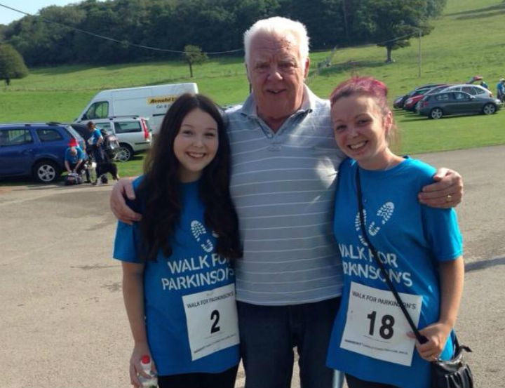 Amy, left, with her father and sister during a charity walk
