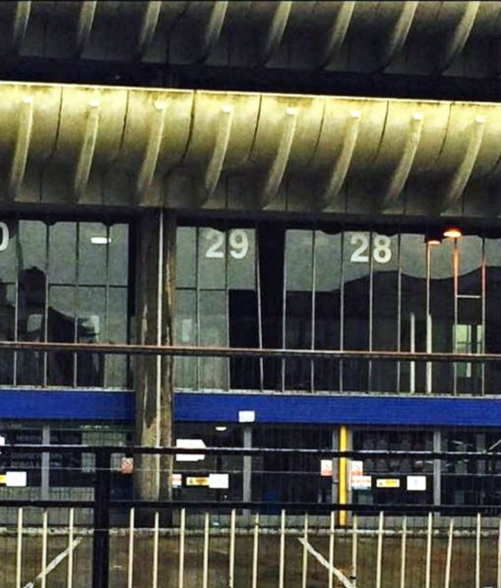 Panes of glass are missing from the Bus Station