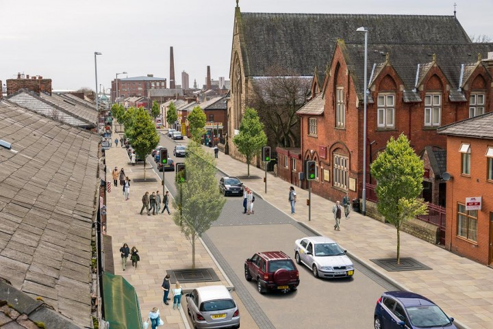 An artist's impression of how New Hall Lane will look after the improvement work