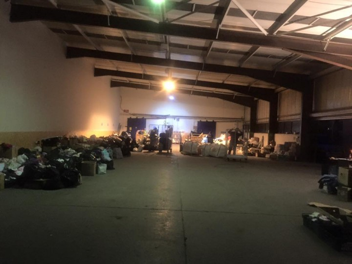 Inside the Preston warehouse with donations to Cumbria flood victims