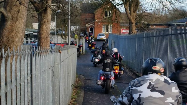 The bikers arrive at the RSPCA in Ribbleton