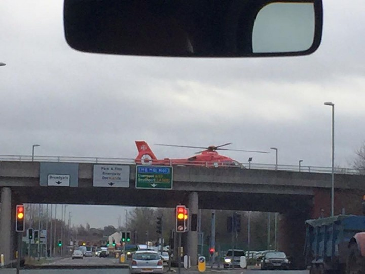 Helicopter on the scene of the accident. Pic: John Saunders