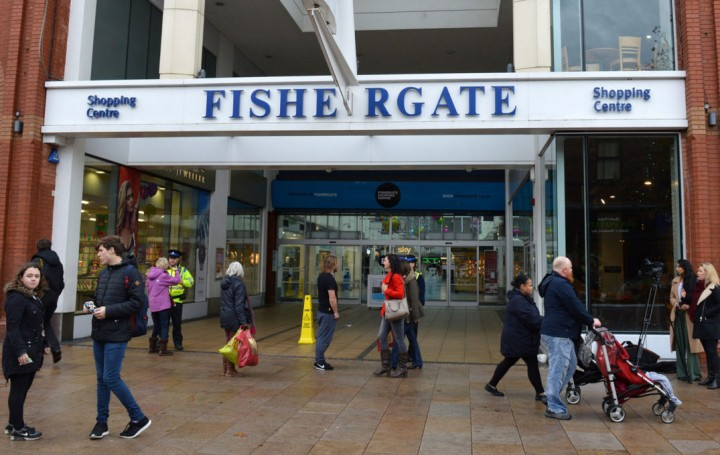 Fishergate Shopping Centre's front entrance closed Pic: Tony Worrall