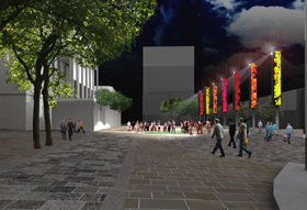 Artist impression of electronic banners on Preston Flag Market