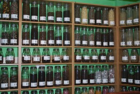 Mystery Tea House - Shelves with teas