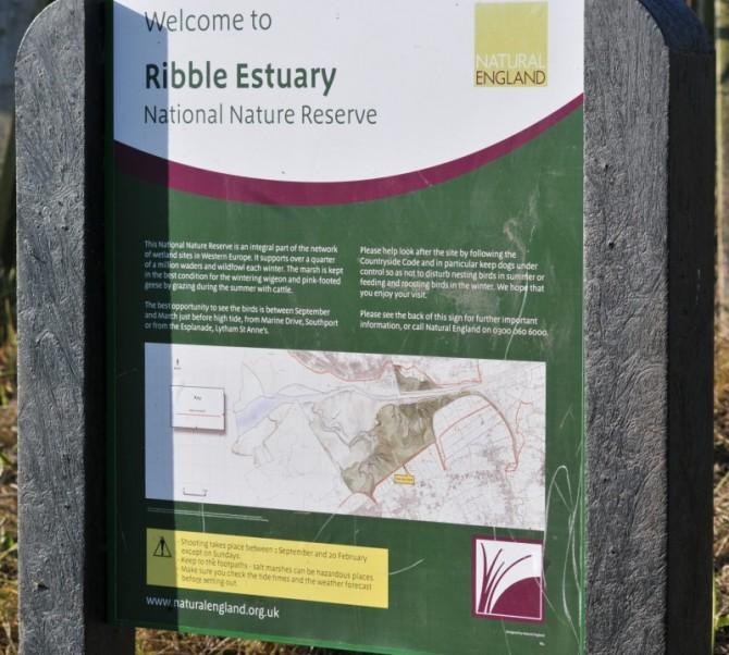 Natural England's sign describing the Ribble estuary.