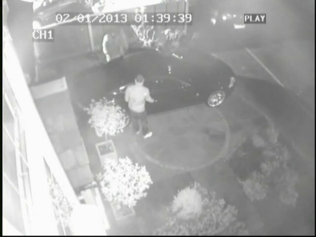 The offenders go to open the car on the drive on Royal Avenue