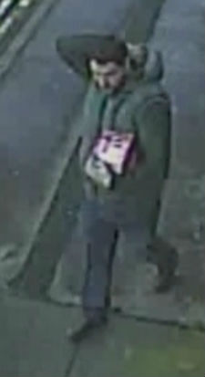 The man wanted by police is captured by CCTV cameras