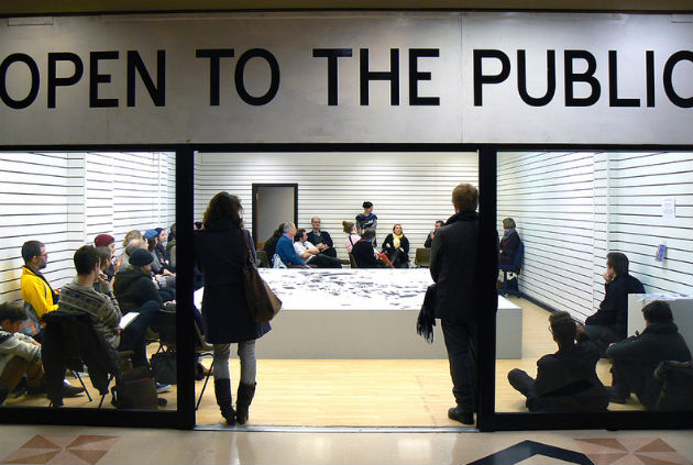 Open to the Public: The audience listens to the debate about the abundance of empty properties in the city centre
