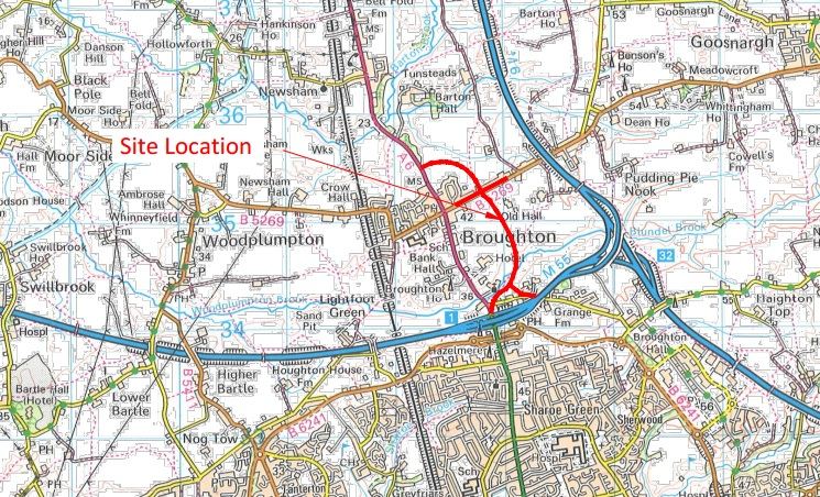 A proposed route for the bypass at Broughton