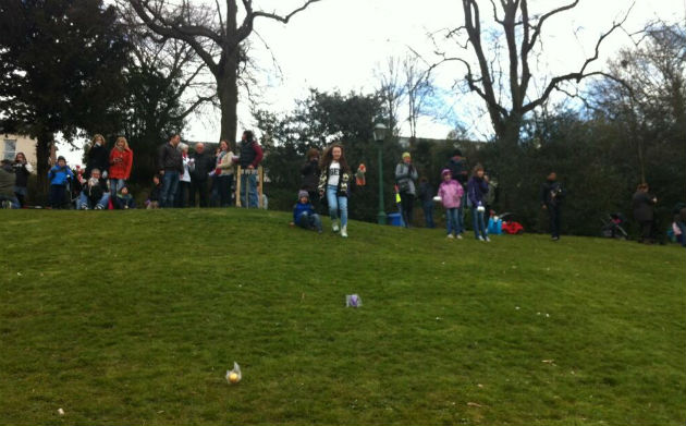 Michelle Steele sent in this photo of the egg rolling in action