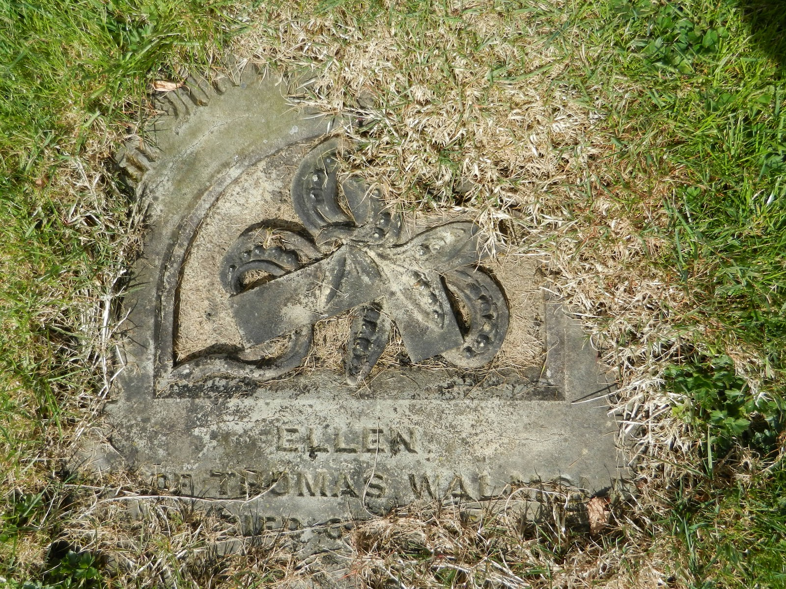 One of the overgrown headstones