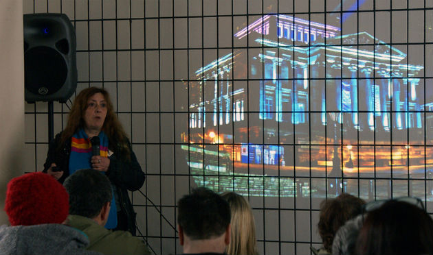 Stella Hall, director of the 2012 Preston Guild, speaks during the Bus Station event