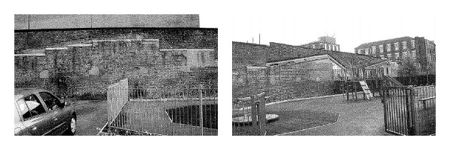 Two views of the current play area on Heatherfield Road