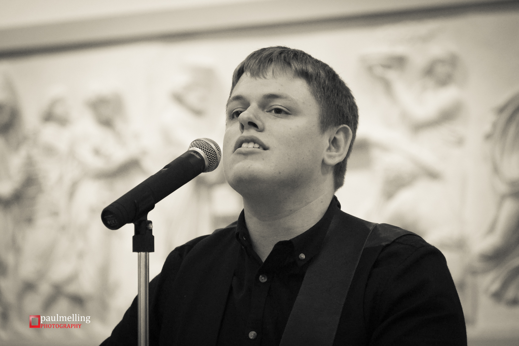 James Christy played acoustic numbers for visitors