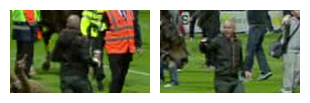 Two images of the man police want to speak to following disorder at PNE v Blackpool