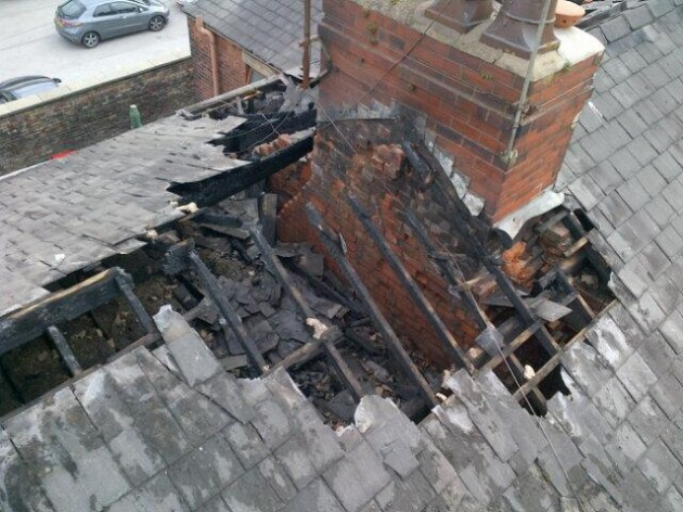 The roof of the Linton Street home has been destroyed