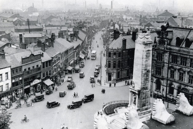 View down Friargate from the Harris Museum in 1934