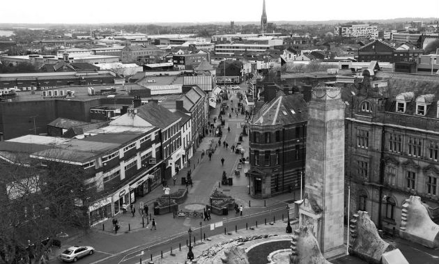 View from the roof of the Harris Museum looking down Friargate in 2013