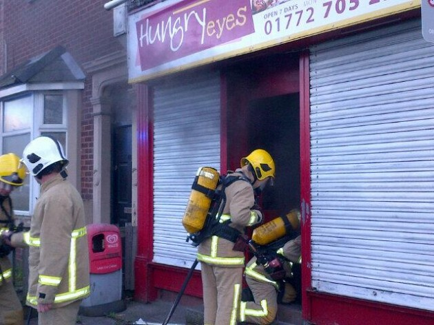 Fire fighters on the scene at the Hungry Eyes takeaway
