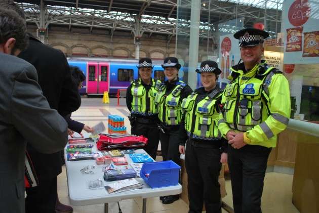 British Transport Police on hand at Preston Railway Station.