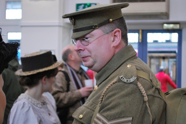 Owen Powell of the Lancashire Infantry Museum and Great War Society was dressed as the part of a WW1 serving serjeant of the North Lancashire Regiment