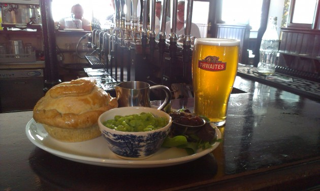 Proper pies at the Moorbrook. Thanks to the regular for lending us his pint!