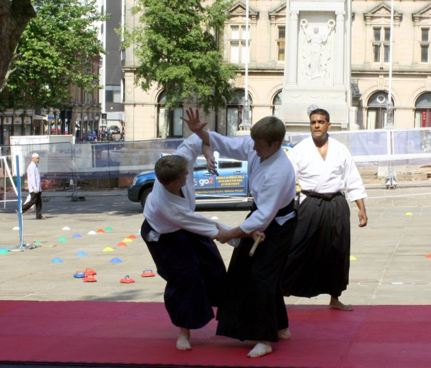 Members of the Preston Aikido Club grapple on the Harris Flights