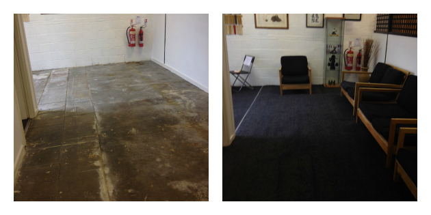 Before and after in one area of the dojo