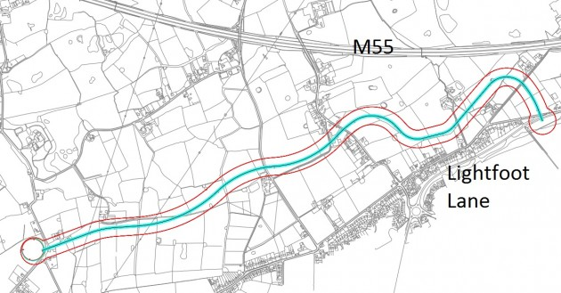 A map of the proposed road, showing a 100m boundary of the route
