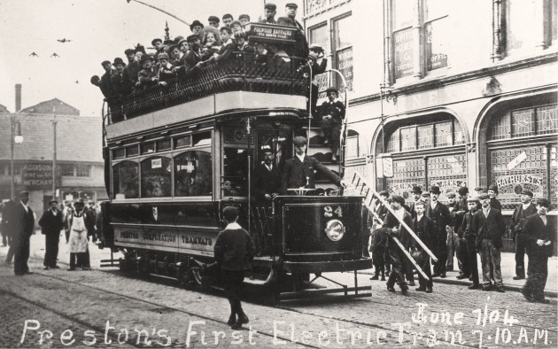Departure of the first electric tram in service on Lancaster Road Preston. 7 June 1904
