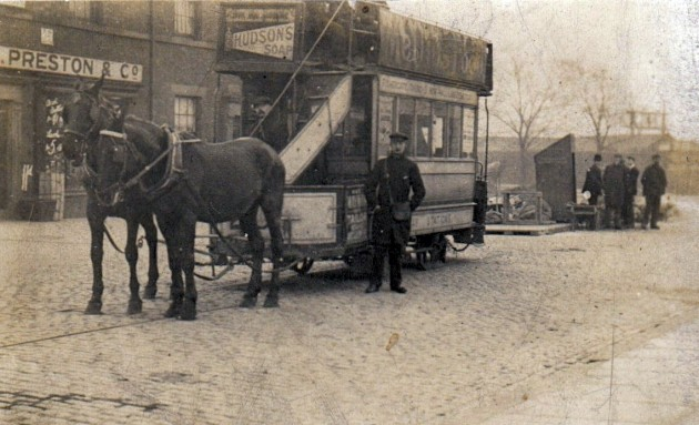 Horse drawn tram at the bottom of Fishergate Hill. 31 December 1903