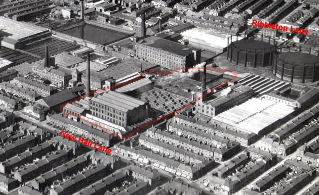 New Hall Lane Mill Complex, Preston. Aerial Image (annotated)