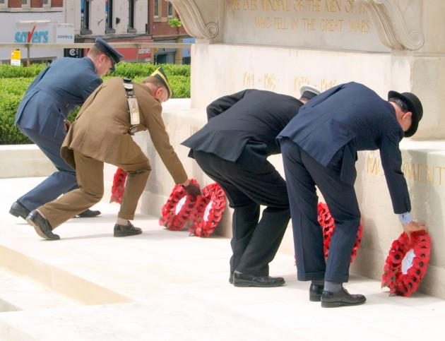 The Laying of The Wreaths at the War Memorial