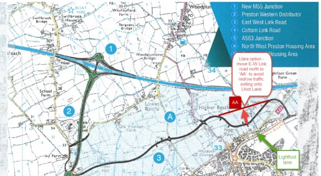 Alternative route proposal of the East-West link road