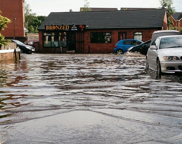 Leyland Road in Lower Penwortham after the deluge