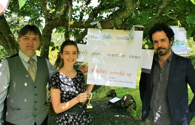 Lindeth Howe's General Manager, Tony Holden, with marketing assistant Danielle Hardy and the Wordsworth Trust's Poet in Residence, Zaffar Kunial