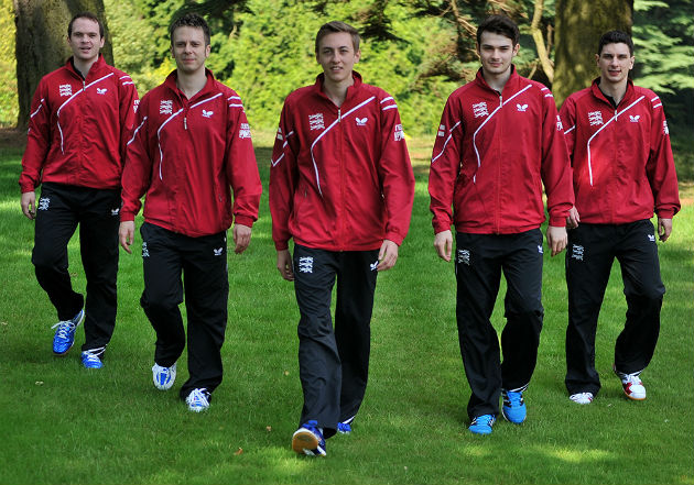 The England mens international table tennis team