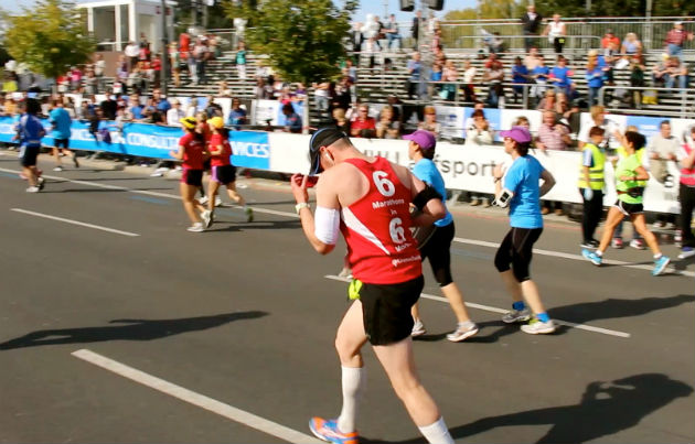 Ben makes his way towards the finish line