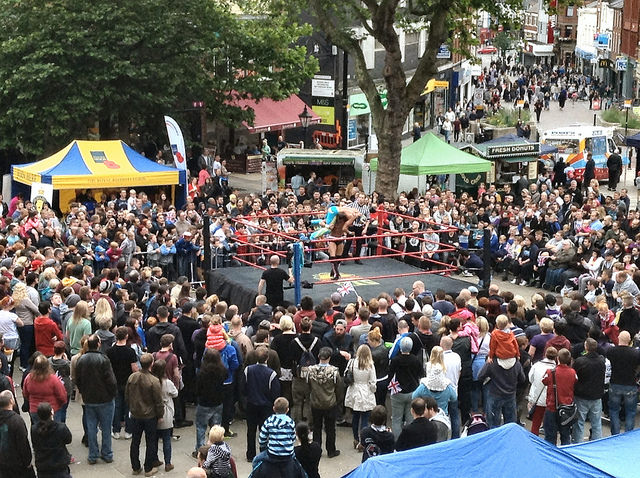 Preston City Wrestling show on the Flag Market