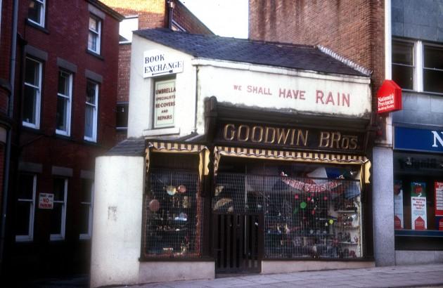 Goodwin Bros (umbrella sellers), Orchard Street, Preston c.1969