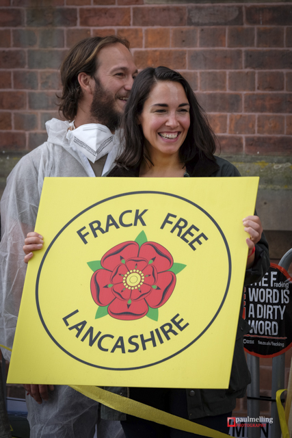 Anti-Fracking demonstrators from across the UK gather in Preston the headquarters of Lancashire County Council. Councillors are debating whether to give the go-ahead to two applications to Frack in the County by energy firm Caudrilla