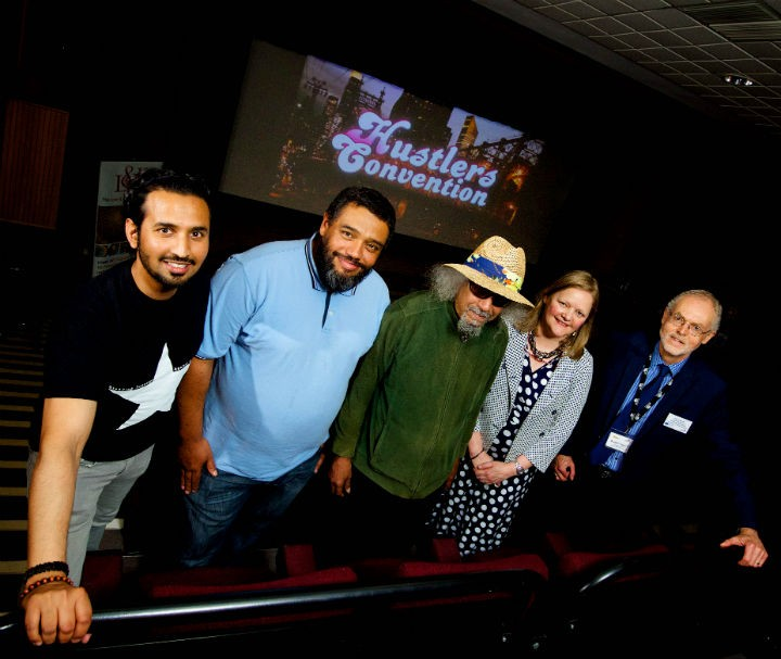 L-R is Rizwan Iqbal, Founder Love and Etiquette foundation, Malik Al Nasir, Poet and Producer of the film Hustlers Convention, Jalal Nuriddin of The Last Poets and author of Hustlers Convention, Gai Murphy, UCLan Pro-Vice Chancellor and Russell Hogarth, UCLan Honorary Fellow and Community Ambassador, Chair and Co-Founder Creative Communities Group.