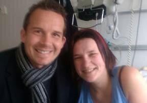 Linda Moon with PNE striker Kevin Davies