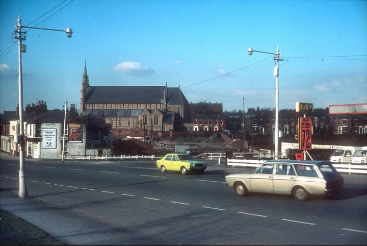 A view of English Martyrs Church, Garstang Road, Preston c.1975