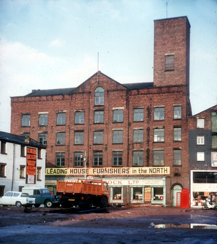 Former Lord Street Cotton Mill from Apron Ribble Bus Station, Preston 1970