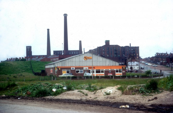 Shelley Road Mill from Aquaduct St with Old Lancaster Lane c.1972