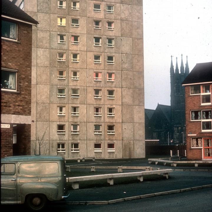 Avenham Flats, Charlotte Street and St Saviours Church, Preston 1967